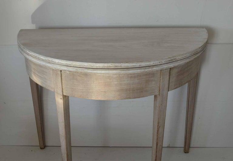 Georgian Antique Bleached Mahogany Demilune Side Table, circa 1800