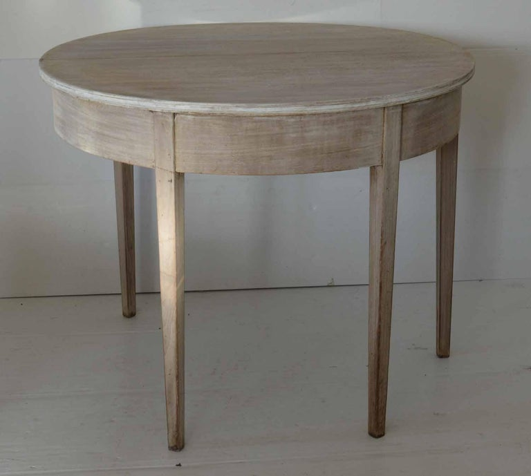 English Antique Bleached Mahogany Demilune Side Table, circa 1800