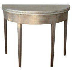 Antique Bleached Mahogany Demilune Side Table, circa 1800