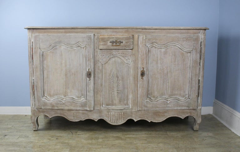 French Antique Bleached Oak Buffet For Sale