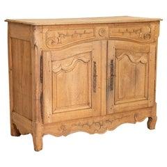 Antique Bleached Oak Buffet Sideboard from France