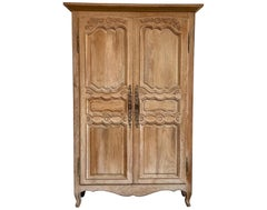 Antique Bleached Oak French Provincial Style Armoire