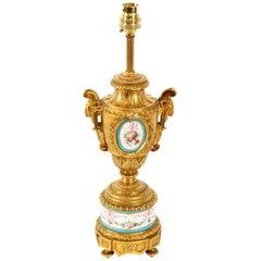 Antique Bleu Celeste Sevres Porcelain Ormolu Table Lamp, 19th Century