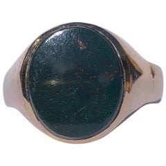 Antique Bloodstone and 9 Carat Gold Signet Ring