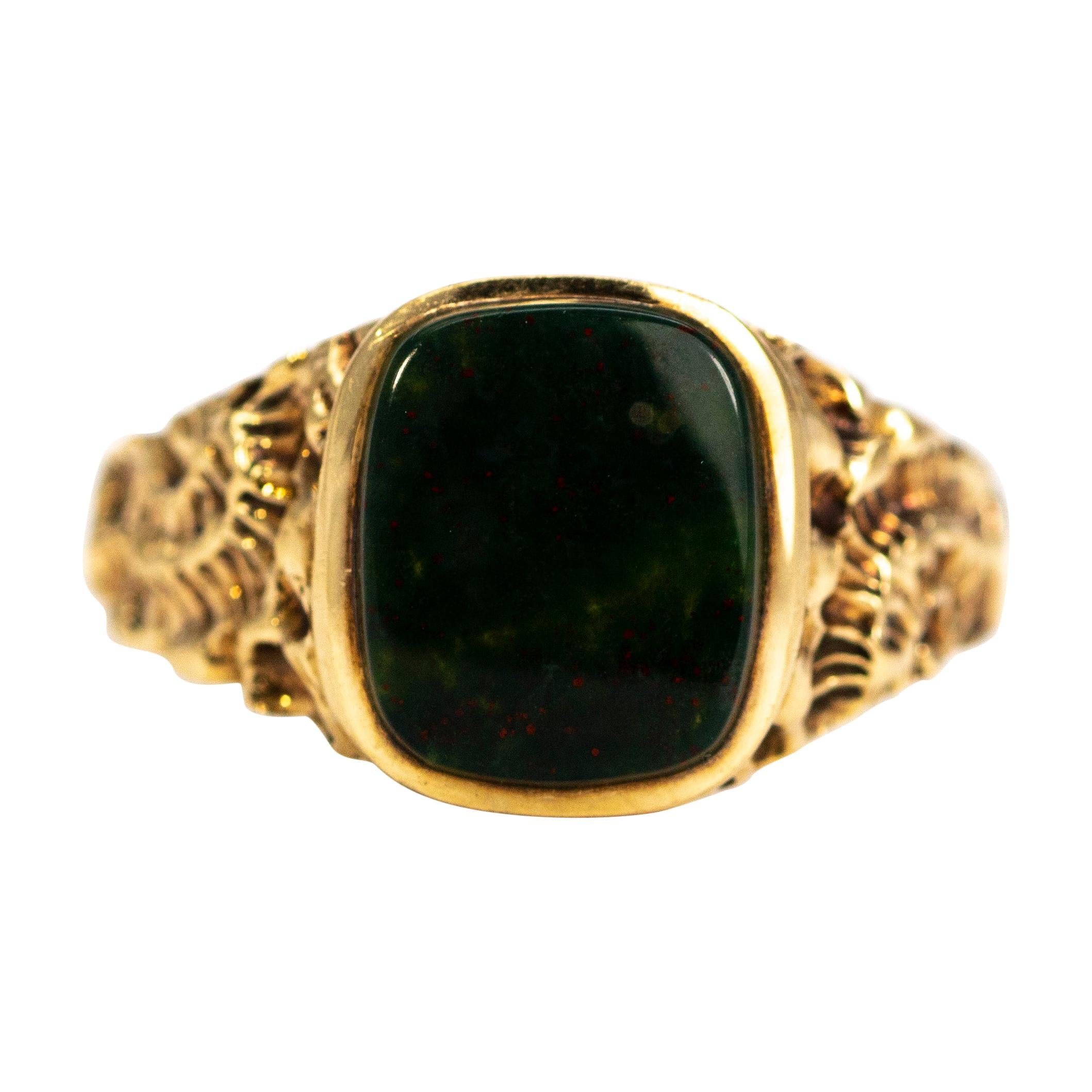 Antique Bloodstone and 9 Carat Gold Signet Ring at 1stdibs