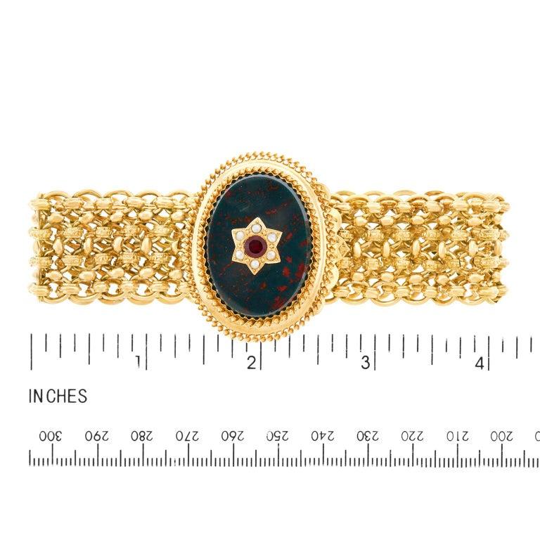 Antique Bloodstone, Garnet and Pearl Bracelet 18 Karat, circa 1880s France For Sale 2