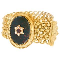 Antique Bloodstone, Garnet and Pearl Bracelet 18 Karat, circa 1880s France