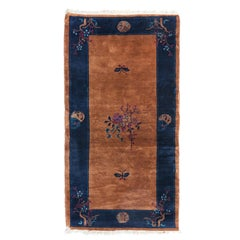 Vintage Navy Blue Border and Gold Art Deco Chinese Area Rug circa 1930s
