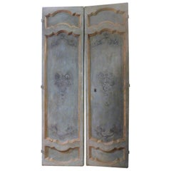 Antique Blue and Gold Lacquered Wooden Door, 1700, Italy