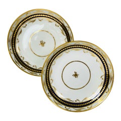 Antique Blue and Gold Pair of English Porcelain Dishes Regency Period, c-1790
