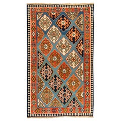 Antique Vintage Blue and Rust Tribal Caucasian Kilim Rug circa 1940s