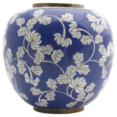 Antique Blue and White Chinese Cloisonné Chrysanthemum Ginger Jar