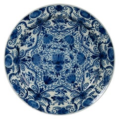 Antique Blue and White Delft Charger with Net Pattern Design Made 18th Century