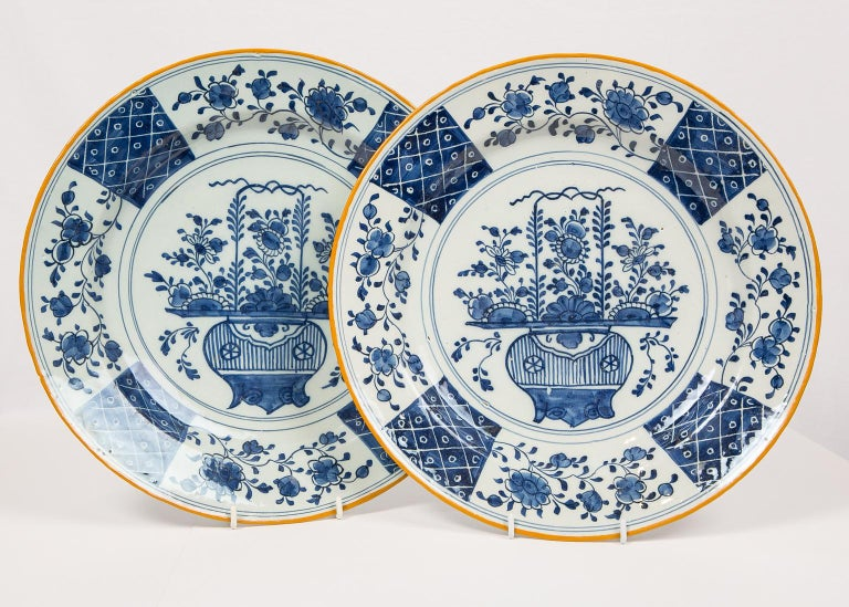 Pair Antique Blue and White Delft Chargers Made by