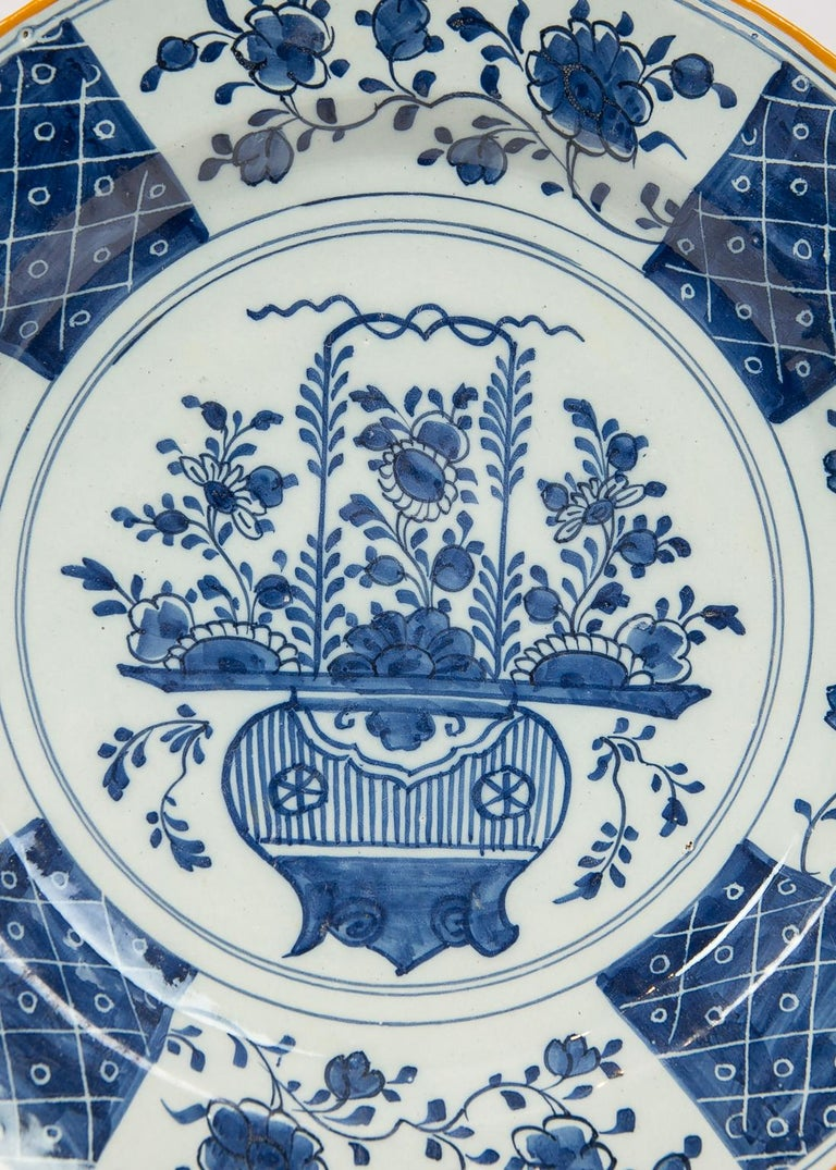Dutch Pair Antique Blue and White Delft Chargers Made by