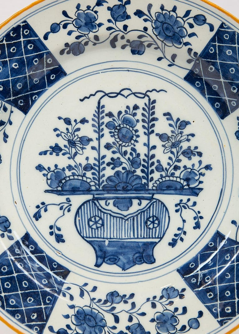 18th Century Pair Antique Blue and White Delft Chargers Made by
