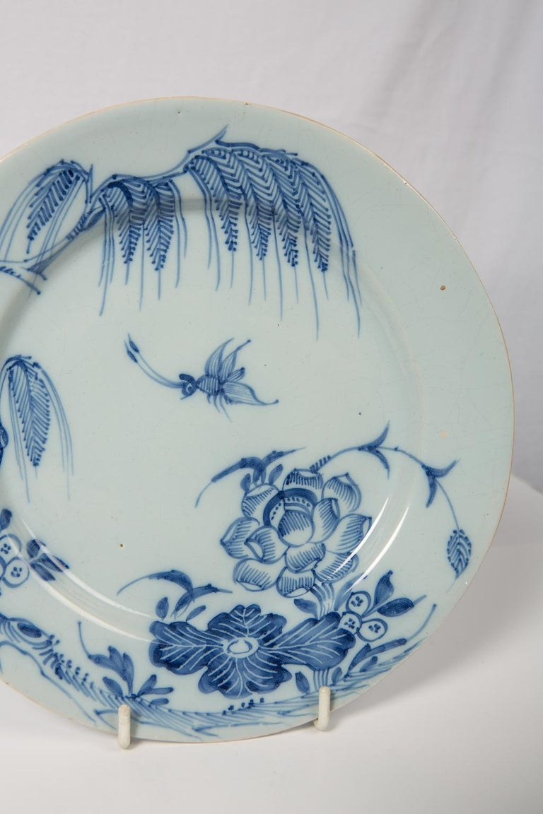 Antique Blue and White Delft Plates a Set of Five 18th Century circa 1750 For Sale 4