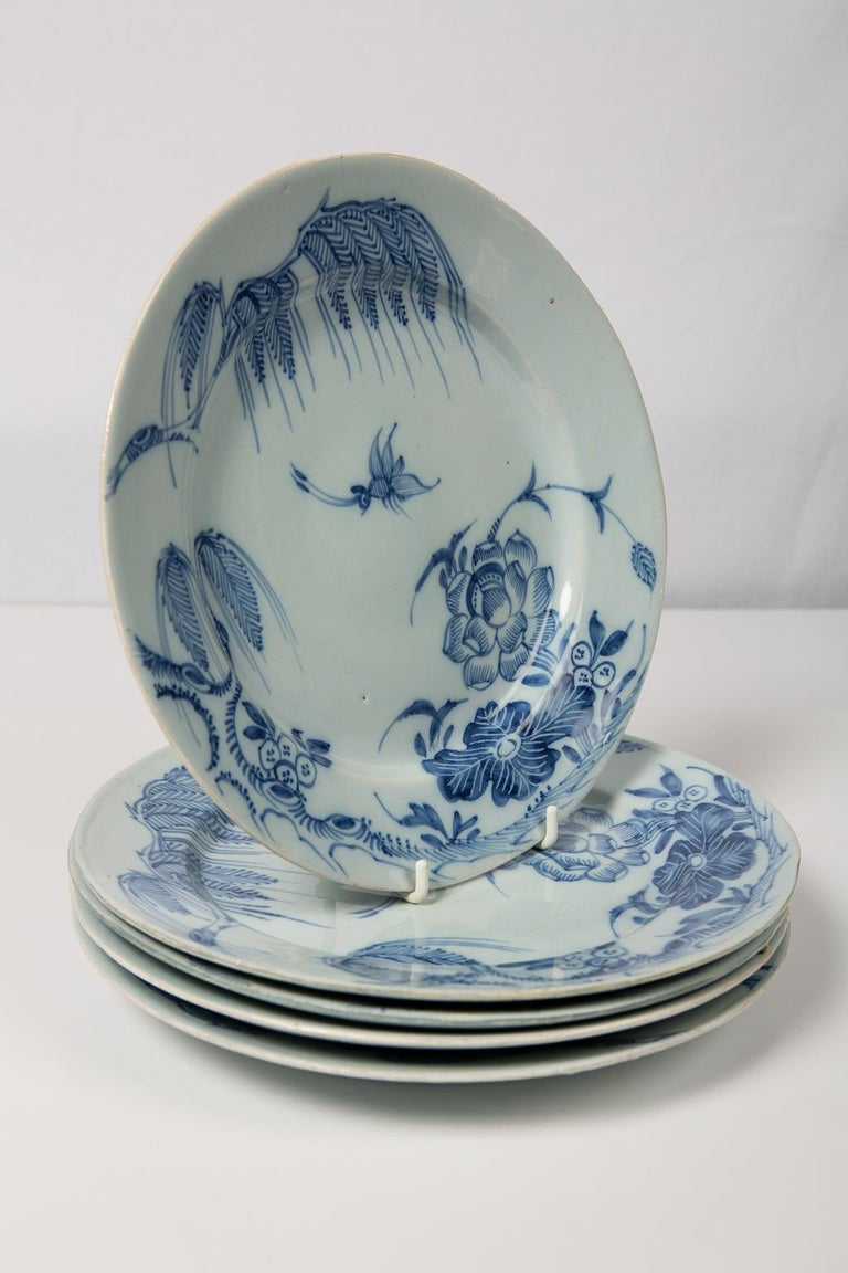 Antique Blue and White Delft Plates a Set of Five 18th Century circa 1750 For Sale 5