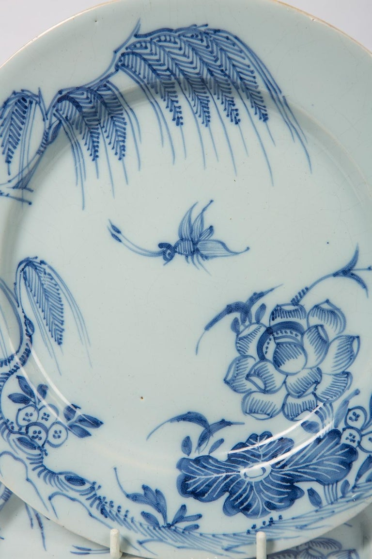 WHY WE LOVE IT: On one of those crazy days looking at this brings serenity. A set of five antique blue and white delft plates painted in a medium cobalt blue. These English delftware dishes were made in the mid-18th century most probably in Lambeth,