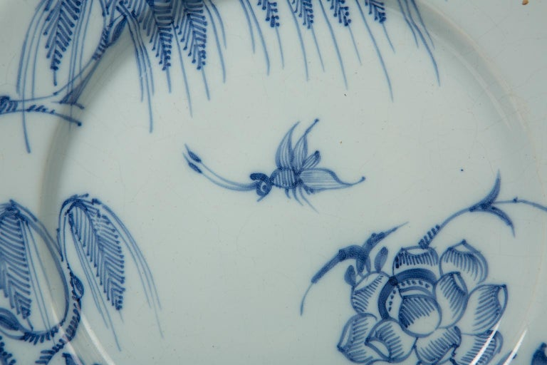 Chinoiserie Antique Blue and White Delft Plates a Set of Five 18th Century circa 1750 For Sale