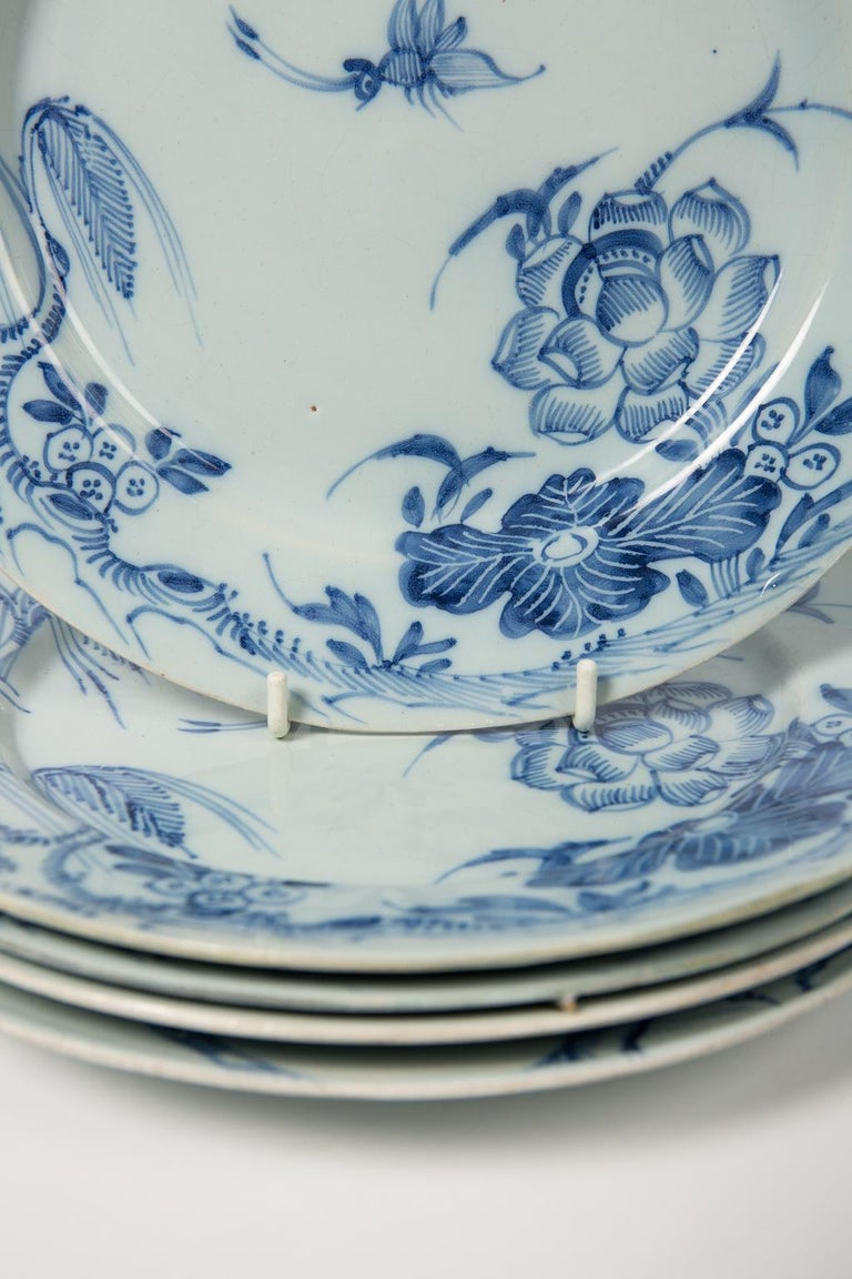 English Antique Blue and White Delft Plates a Set of Five 18th Century circa 1750 For Sale