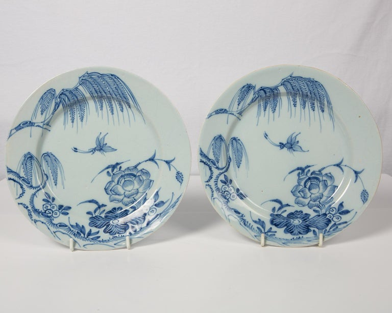 Hand-Painted Antique Blue and White Delft Plates a Set of Five 18th Century circa 1750 For Sale