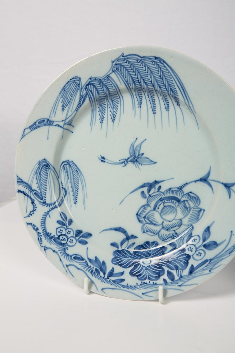 Antique Blue and White Delft Plates a Set of Five 18th Century circa 1750 In Excellent Condition For Sale In New York, NY