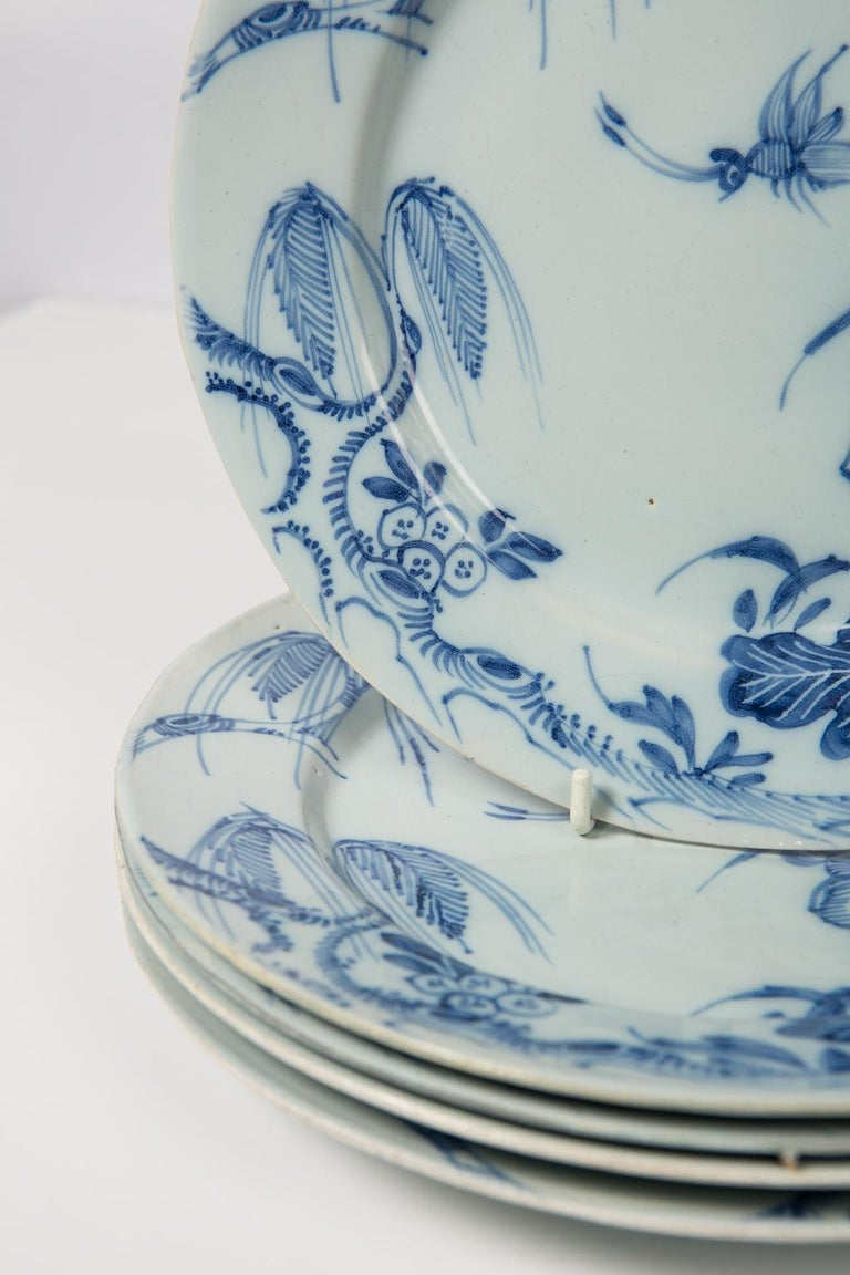 Antique Blue and White Delft Plates a Set of Five 18th Century circa 1750 For Sale 3