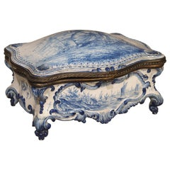 Antique Blue and White Delft Table Box, Late 19th Century