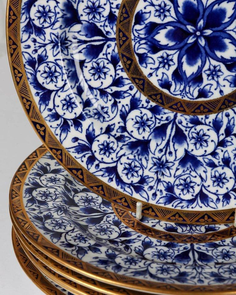 Antique Blue and White Derby Dinner Set with 10.35 Inch Dinner Plates 57 Pieces For Sale 5