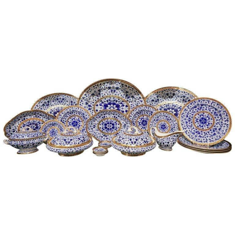 Regency Antique Blue and White Derby Dinner Set with 10.35 Inch Dinner Plates 57 Pieces For Sale