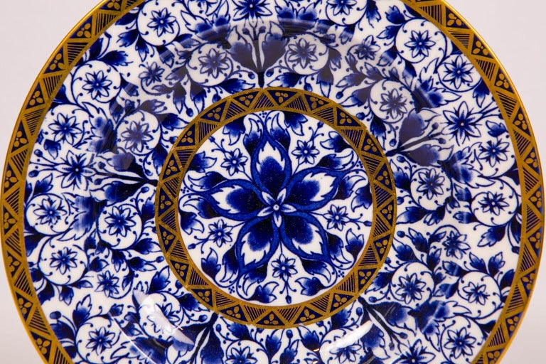 English Antique Blue and White Derby Dinner Set with 10.35 Inch Dinner Plates 57 Pieces For Sale