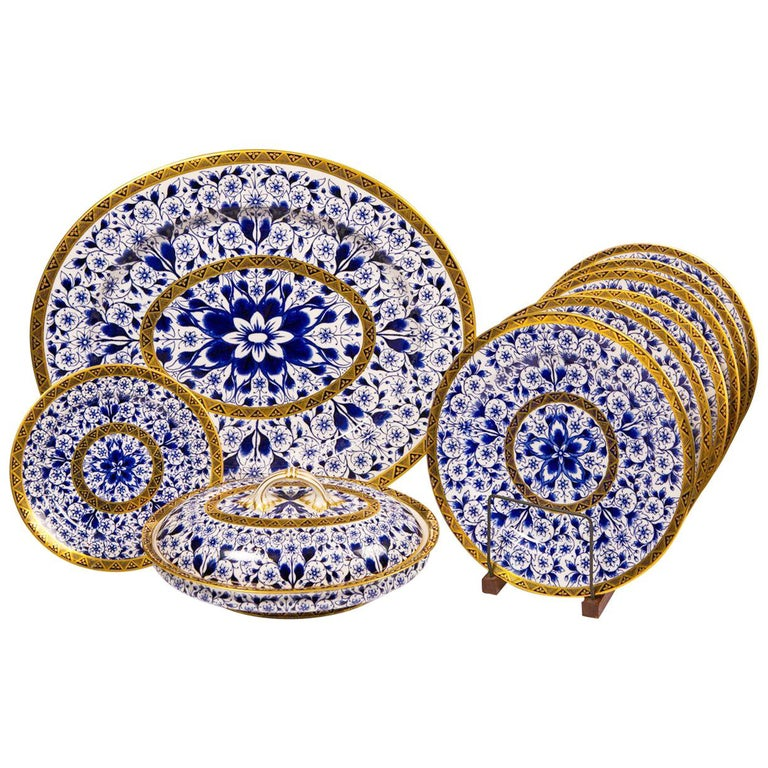 Antique Blue and White Derby Dinner Set with 10.35 Inch Dinner Plates 57 Pieces For Sale