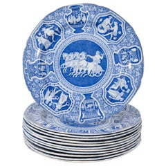 """Antique Blue and White Dishes Neoclassical Spode """"Greekware"""" Made circa 1810"""