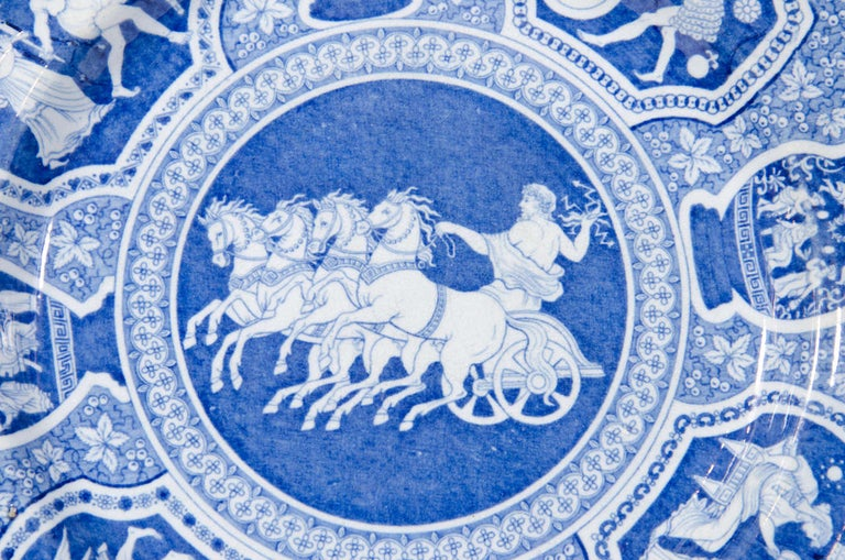A set of 20 blue and white dishes in the Spode neoclassical