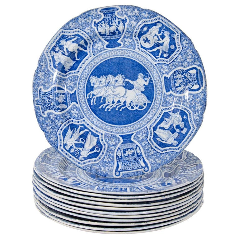 """Antique Blue and White Dishes Neoclassical Spode """"Greekware"""" Made circa 1810 For Sale"""