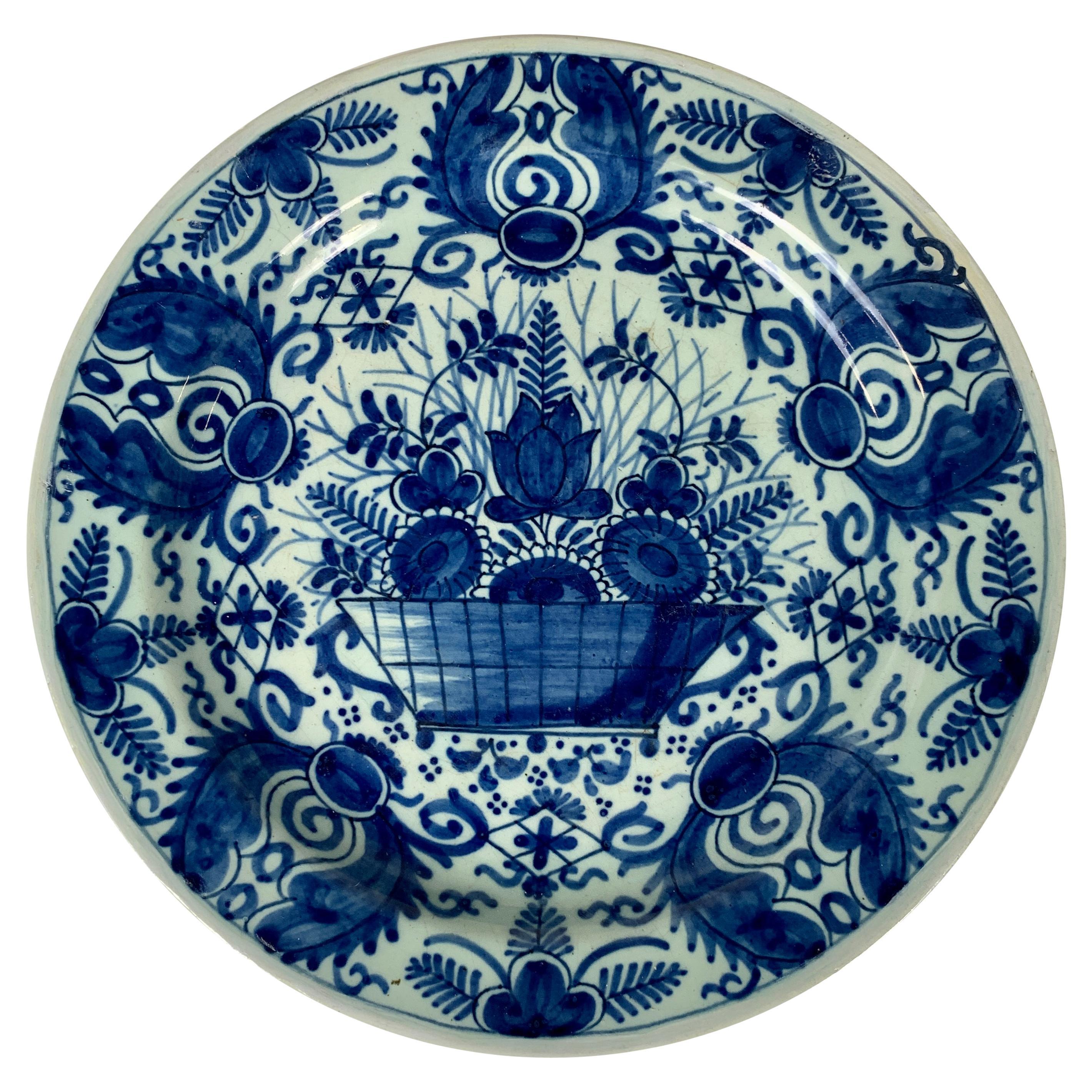Antique Blue and White Dutch Delft Dish, 18th Century, Made c-1770