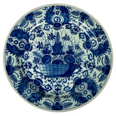 Antique Blue and White Dutch Delft Dish, 18th Century, Made c-1770