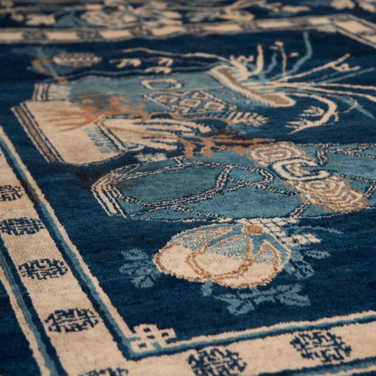 One of the most remote locations in Asia, the area now known as East Turkestan was a pivotal stop along the Silk Road, uniting the cultures of India, Persia, and China. This rich multicultural mix is reflected in the exquisite carpets created in the
