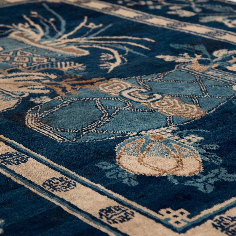 Turkestan Antique Blue and White Khotan Carpet, c. 1930 For Sale