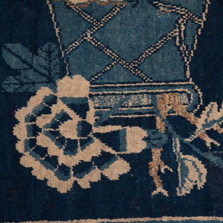 Antique Blue and White Khotan Carpet, c. 1930 In Good Condition For Sale In Chicago, IL