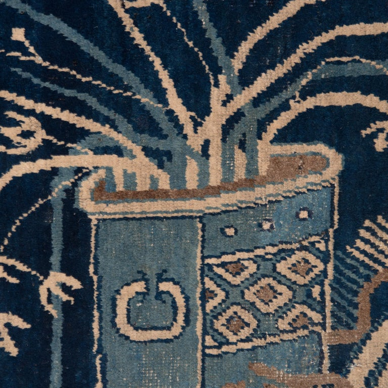 Mid-20th Century Antique Blue and White Khotan Carpet, c. 1930 For Sale