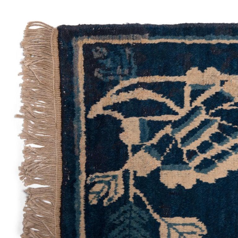 Antique Blue and White Khotan Carpet, c. 1930 For Sale 1