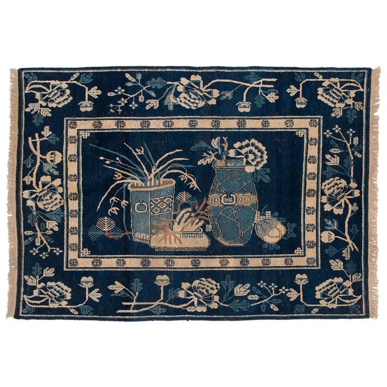 Antique Blue and White Khotan Carpet, c. 1930 For Sale