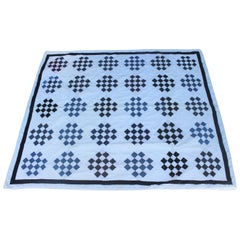 Antique Blue and White One  Patch Quilt