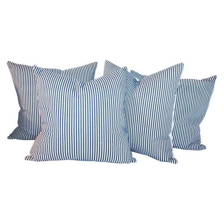 Antique Blue and White Ticking Pillows, 4 For Sale