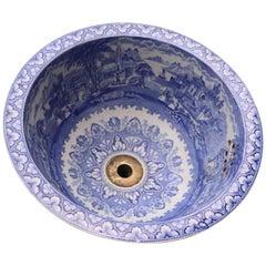 Antique Blue and White Transfer Printed Porcelain Wash Basin
