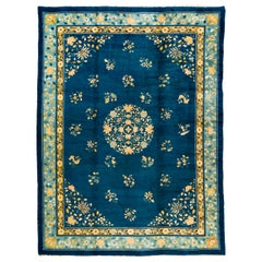 Antique Blue and Yellow Chinese Rug with Floral Decor
