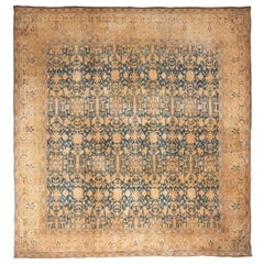 Antique Blue and Yellow Indian Cotton Rug with Geometric-Floral Patterns