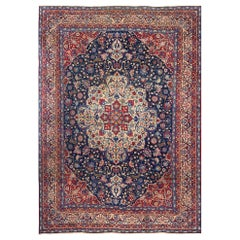 Antique Blue Background Isfahan Persian Rug. Size: 10 ft 2 in x 14 ft 4 in